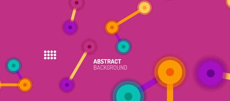 Flat style geometric abstract background, round dots or circle connections on color background. Technology network concept. Vectores
