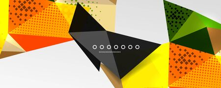 Abstract background - trendy low poly triangle shapes polygonal pattern, geometric dynamic composition with copyspace. Vector Illustration For Wallpaper, Banner, Background, Card, Book Illustration, landing page Иллюстрация