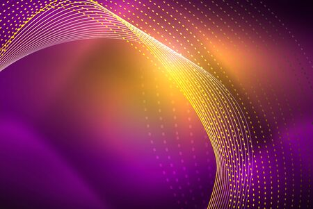 Abstract particles, wave background, neon motion techno design