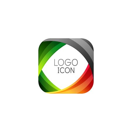 Business trendy geometric square design template with bright clean colors Vectores