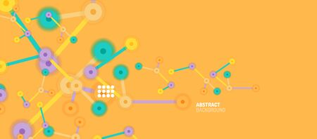 Flat style geometric abstract background, round dots or circle connections on color background. Technology network concept. Иллюстрация
