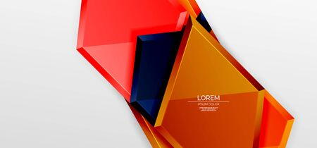 Metal glossy shiny geometric shapes with 3d effect composition. Techno futuristic vector abstract background For Wallpaper, Banner, Background, Card, Book Illustration, landing page Ilustracja