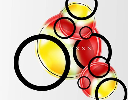 Abstract background - glossy glass bubbles, abstract sphere shapes, geometric dynamic composition with copyspace. Vector Illustration For Wallpaper, Banner, Background, Card, Book Illustration, landing page Banque d'images - 146805150