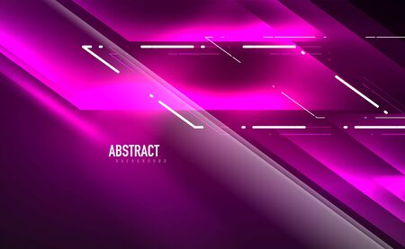 Dynamic neon shiny abstract background. Trendy abstract layout template for business or technology presentation, internet poster or web brochure cover, wallpaper Banque d'images - 146805416