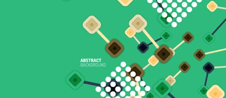 Abstract square dot connections, flat style multicolored geometric background for Wallpaper, Banner, Background, Card, Book Illustration, landing page or poster design