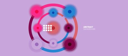 Flat style geometric abstract background, round dots or circle connections on color background. Technology network concept. 矢量图像