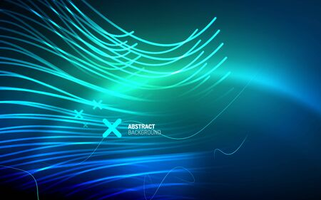 Abstract background - blue neon line design for Wallpaper, Banner, Background, Card, Book Illustration, landing page  イラスト・ベクター素材