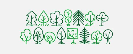 Set of hand drawn tree icons, line style design, vector doodles illustration Vectores