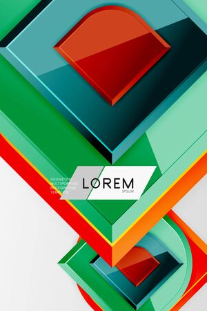 Glossy glass squares with round elements geometric composition. Abstract geometric background with 3d effect composition For Wallpaper, Banner, Background, Card, Book Illustration, landing page 일러스트