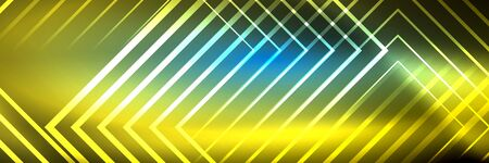 Shiny neon glowing techno lines, hi-tech futuristic abstract background template with square shapes 版權商用圖片 - 147587259