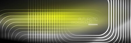 Shiny neon lines, stripes and waves, technology abstract background. Trendy abstract layout template for business or technology presentation, internet poster or web brochure cover, wallpaper 일러스트