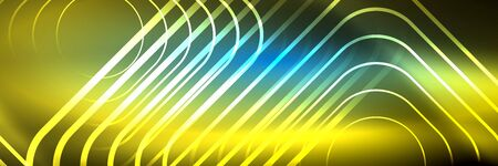 Shiny neon glowing techno lines, hi-tech futuristic abstract background template with square shapes 版權商用圖片 - 147587506