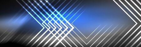 Shiny neon glowing techno lines, hi-tech futuristic abstract background template with square shapes 版權商用圖片 - 147587487
