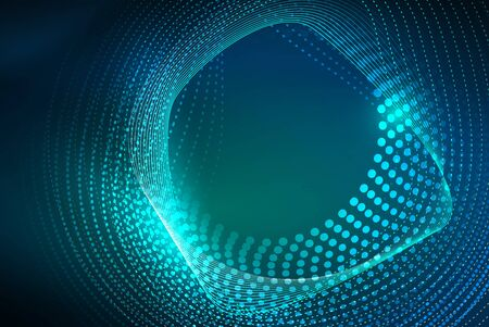 Abstract particles, wave background, neon motion techno design 免版税图像 - 147754957