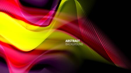 Liquid colors fluid gradients on black background 免版税图像 - 147755455
