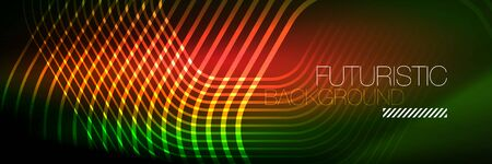 Shiny neon lines, stripes and waves, technology abstract background. Trendy abstract layout template for business or technology presentation, internet poster or web brochure cover, wallpaper 免版税图像 - 147755176