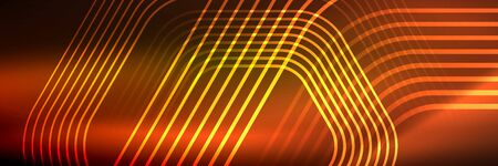Shiny neon lines, stripes and waves, technology abstract background. Trendy abstract layout template for business or technology presentation, internet poster or web brochure cover, wallpaper 免版税图像 - 147755542