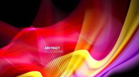 Liquid colors fluid gradients on black background 免版税图像 - 147755565