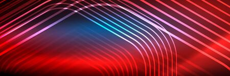 Shiny neon lines, stripes and waves, technology abstract background. Trendy abstract layout template for business or technology presentation, internet poster or web brochure cover, wallpaper 免版税图像 - 147755622