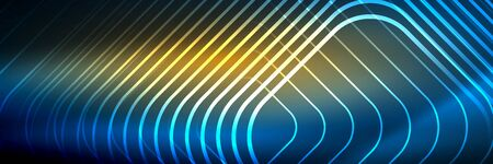 Shiny neon lines, stripes and waves, technology abstract background. Trendy abstract layout template for business or technology presentation, internet poster or web brochure cover, wallpaper 矢量图像
