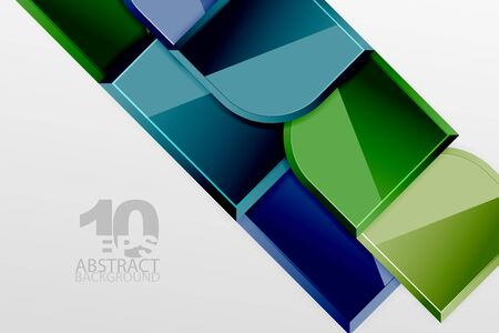 Glossy glass squares with round elements geometric composition. Abstract geometric background with 3d effect composition For Wallpaper, Banner, Background, Card, Book Illustration, landing page Ilustração