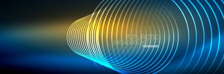 Shiny neon lines, stripes and waves, technology abstract background. Trendy abstract layout template for business or technology presentation, internet poster or web brochure cover, wallpaper Ilustração