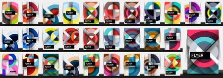 Set of business annual report brochure templates, A4 size covers created with geometric modern circle patterns Vector Illustration