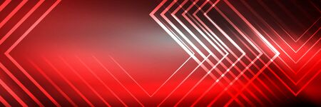 Shiny neon glowing techno lines, hi-tech futuristic abstract background template with square shapes