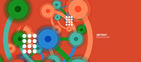 Flat style geometric abstract background, round dots or circle connections on color background. Technology network concept.  イラスト・ベクター素材