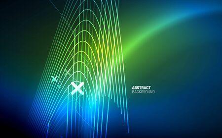 Abstract background - blue neon line design for Wallpaper, Banner, Background, Card, Book Illustration, landing page Çizim