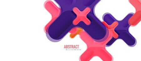 Glossy multicolored plastic style cross composition, x shape design, techno geometric modern abstract background. Trendy abstract layout template