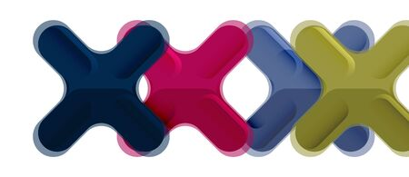 Glossy multicolored plastic style cross composition, x shape design, techno geometric modern abstract background. Trendy abstract layout template for business or technology presentation, internet poster or web brochure cover