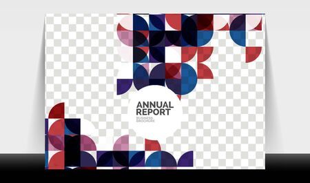 Horizontal A4 business flyer annual report template, circles and triangle style shapes modern geometric design for brochure layout, magazine or booklet Иллюстрация