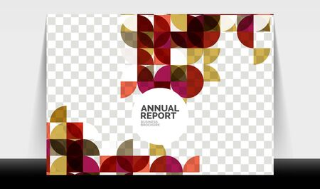 Horizontal A4 business flyer annual report template, circles and triangle style shapes modern geometric design for brochure layout, magazine or booklet