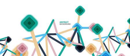 Connexions de points carrés abstraits, arrière-plan géométrique multicolore de style plat pour le papier peint, la bannière, l'arrière-plan, la carte, l'illustration du livre, la page de destination ou la conception d'affiches