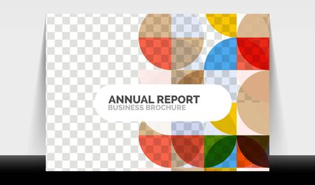 Horizontal A4 business flyer annual report template, circles and triangle style shapes modern geometric design for brochure layout, magazine or booklet Ilustração
