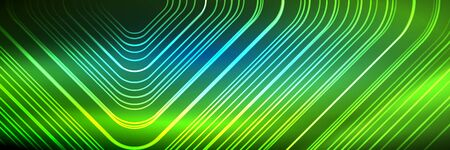 Shiny neon lines, stripes and waves, technology abstract background. Trendy abstract layout template for business or technology presentation, internet poster or web brochure cover, wallpaper 写真素材 - 149308510