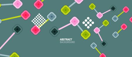Abstract square dot connections, flat style multicolored geometric background for Wallpaper, Banner, Background, Card, Book Illustration, landing page or poster design Vettoriali