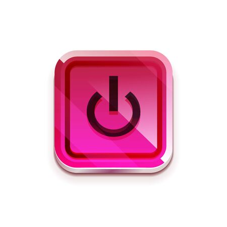 Glossy power web button, vector icon Illustration
