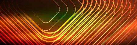 Shiny neon lines, stripes and waves, technology abstract background. Trendy abstract layout template for business or technology presentation, internet poster or web brochure cover, wallpaper  イラスト・ベクター素材