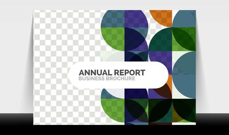 Horizontal A4 business flyer annual report template, circles and triangle style shapes modern geometric design for brochure layout, magazine or booklet Vectores