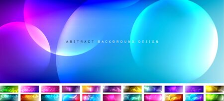 Set of vector abstract backgrounds - liquid bubble shapes on fluid gradient with shadows and light effects. Shiny design templates for text 일러스트
