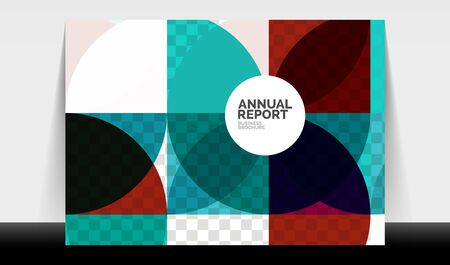 Horizontal A4 business flyer annual report template, circles and triangle style shapes modern geometric design for brochure layout, magazine or booklet Stock Illustratie