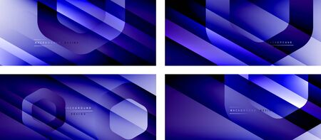 Set of hexagon geometric shapes and fluid gradients with 3d shadow and light straight lines, minimal abstract backgrounds