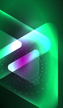 Glowing neon shiny transparent abstract geometric shapes with light effects. Techno futuristic vector abstract background For Wallpaper, Banner, Background, Card, Book Illustration, landing page Vectores
