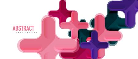 Glossy multicolored plastic style cross composition, x shape design, techno geometric modern abstract background. Trendy abstract layout template for business or technology presentation, internet poster or web brochure cover 向量圖像