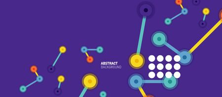 Flat style geometric abstract background, round dots or circle connections on color background. Technology network concept.