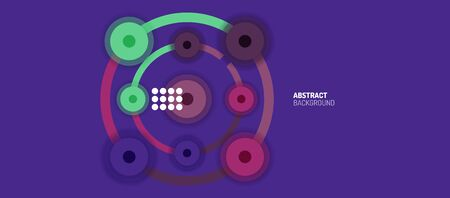Flat style geometric abstract background, round dots or circle connections on color background. Technology network concept. Çizim