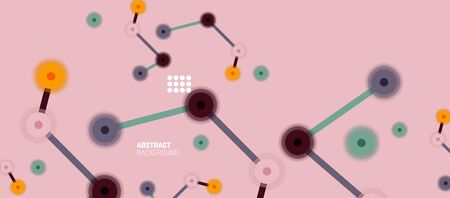 Flat style geometric abstract background, round dots or circle connections on color background. Technology network concept. Illustration