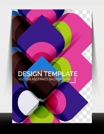 Business annual report brochure template, A4 size covers created with geometric modern patterns Foto de archivo - 150473946